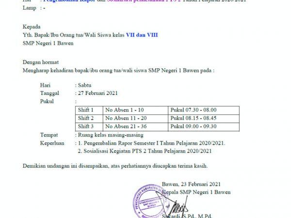 Pengumuman Pengembalian Raport Semester 1 TP. 2020/2021