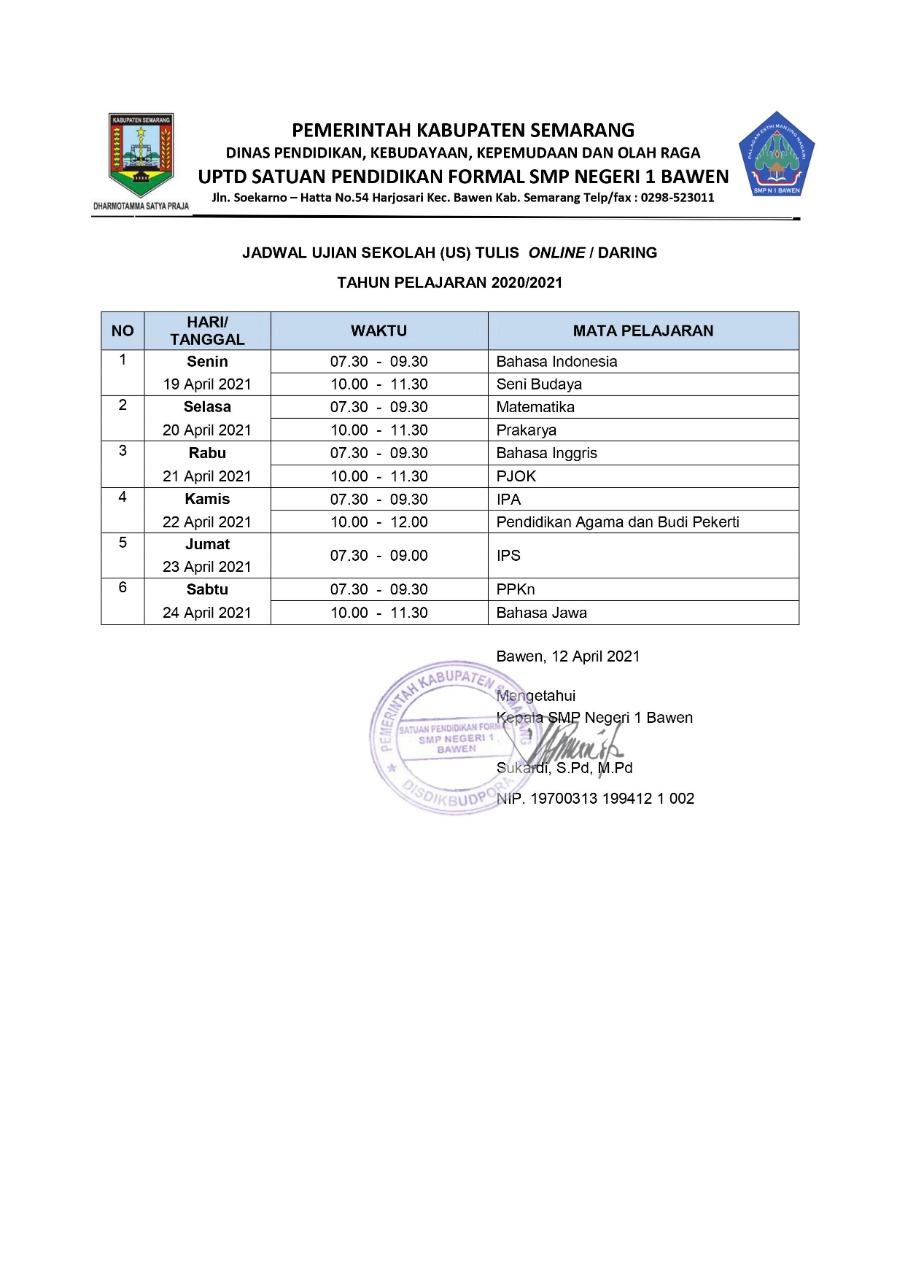 Ujian Sekolah SMP N 1 Bawen